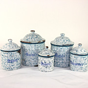French enamelware, graniteware canister set, storage jars, pots