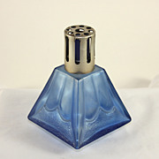 Vintage Art Deco French Lampe Berger, brule parfum, blue glass
