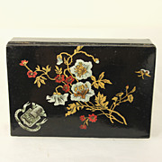 Antique black lacquered French sewing / needle work / thimble box c1870