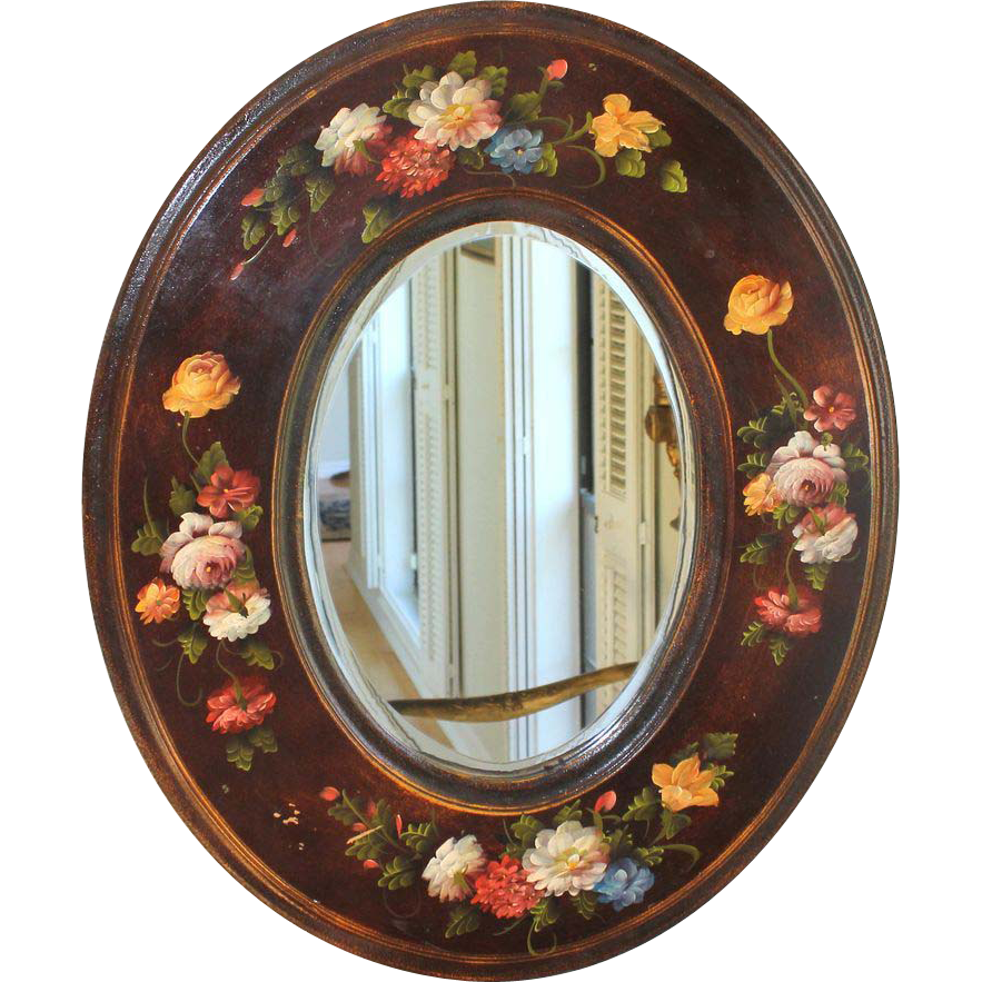 Vintage French Provencal mirror with hand painted flower frame, 1926 ...