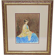 Fabulous Watercolor of a Young Lady in a Blue Dress