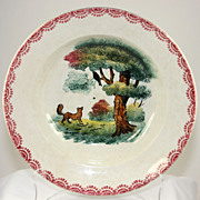 Vintage Badonviller faience plate with fox and crow Aesop fable