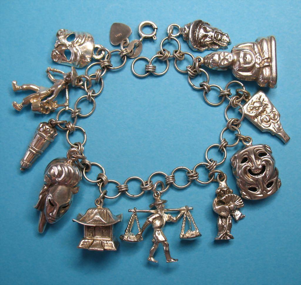 vintage sterling silver asian charm bracelet eight