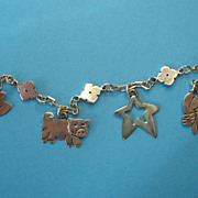Vintage Sterling Taxco Far Fetched  Charms & Bracelet - Signed