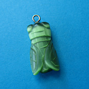 Vintage Green Iridescent Carved Stone Bug Charm