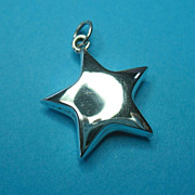 Vintage Sterling Puffy Star Necklace Pendant Charm