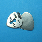 "Vintage Sterling Double Heart Slide Charm "" Who Has The Key"" 1940s"