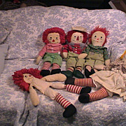 5 Hand made Vintage Raggedy Dolls