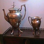 Very Lovely Antique Coffee or Teapot and Creamer 1880's- Silverplate