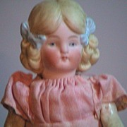Antique Porcelain Molded Hair And Bows German Doll