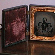 SOLD Tin-type Photo of Man with 2 Girls in Gutta Percha Case- 1860's