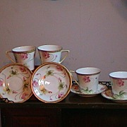 4 Nippon Floral Deco Gold Trimmed Cups And Saucers
