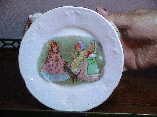 Very Vintage Childs Plate from Dish Set:  3 Girls, Cat and Dog