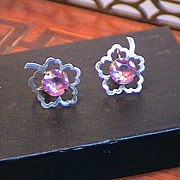 1940's Sterling Screw Back Earrings with Purple Stone