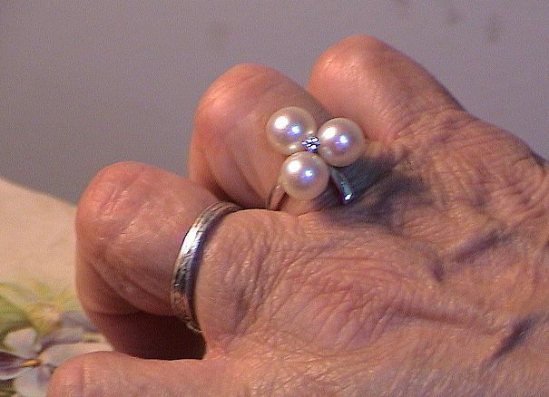 Three Pearl and Diamond Ring -  Size 7 -  14K White Gold