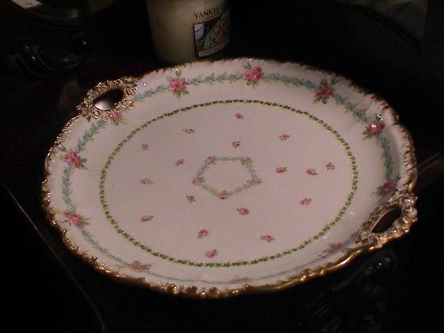 Very Vintage French Rose Plate with Handles and Gold Trimmed Edge