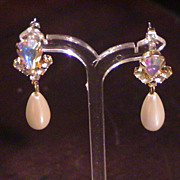 Vintage faux pearl and Crystal Pierced Earrings