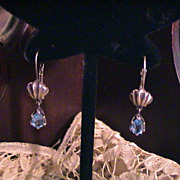 Vintage Blue Topaz and Sterling Silver Earrings