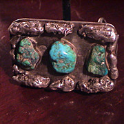 Turquoise and Silver Nugget Buckle For Men's Belt
