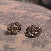 1940's Silverplate Screw-back Earrings