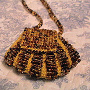 Vintage Knit bag necklace - Gold glass beads