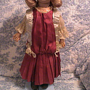 "Very Beautiful Antique Silk Dress 15.5 to 17"" doll"