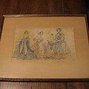 REDUCED Antique hand colored Magazine Print Framed