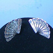 REDUCED Screw on Vintage Fan Earrings