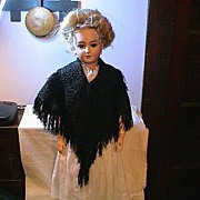 REDUCED Antique Couture Silk Black Cape with Cording and Fringe
