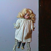 REDUCED Vintage German Glass Eyed Doll, Porcelain Head and Comp body