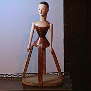 REDUCED VERY Rare Antique Pandora Wood Doll with Skirt Cage