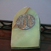 REDUCED Little Vintage Religious Medal in Stand - Our Lady of Lourdes