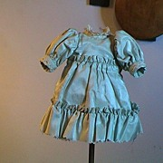 "SALE PENDING Antique Seafoam Green Silk Dress for 9 to 10"" Doll"