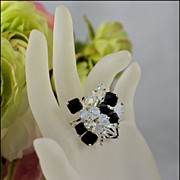**Designs By Judith** Black & White Bling Cocktail Ring
