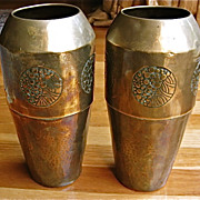 Pair of WMF Brass Vases-Early Mark-Arts and Crafts