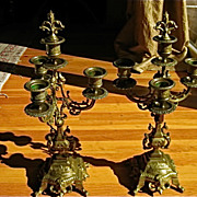 Brass Three Arm Griffin Candelabra w/Snuffer Fleur di Lys Finial