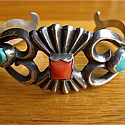 Cast Native American Sterling Turquoise Coral Bracelet