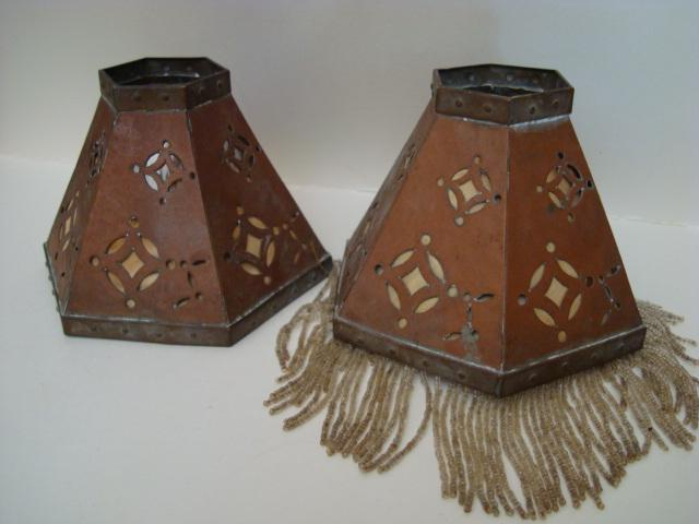 Arts and Crafts lamps shades (pair)