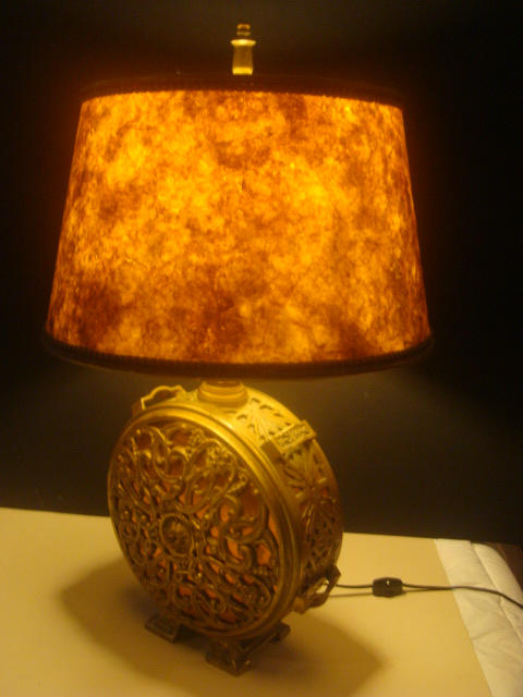 antique brass copper lamp with mica shade from. Black Bedroom Furniture Sets. Home Design Ideas
