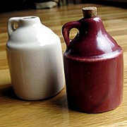 Two Miniature Pottery Whiskey Jugs