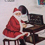 SALE Vintage Santa Short Wave 1923 Xmas Stamp Postcard