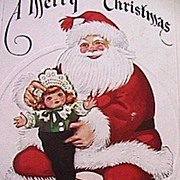 SALE Vintage Santa W/ Pretty Doll 1923 Christmas Stamp Postcard