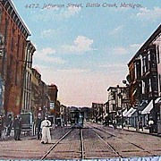 Vintage Early 1900`s Battle Creek, Mich. Jefferson St. Postcard