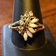 SOLD Lovely Opalescent Type Sets Lady`s Ring ~ Gold Plated ~ Size 11 1/2