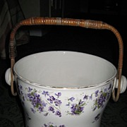 Victorian Violet Motif English Slop Bucket c. 1890