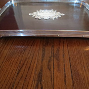 Victorian Oak and Silver Gallery Tray c. 1870