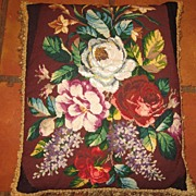 Gorgeous Victorian Needlework and Beadwork Cushion