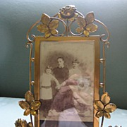 Victorian Brass Frame with Roses  c. 1870