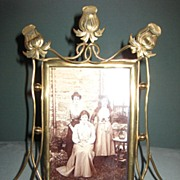Victorian Brass Picture Frame with Tulips  c. 1890