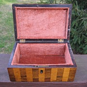 Striped Satinwood and Rosewood Box c. 1840
